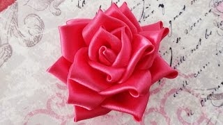 getlinkyoutube.com-DIY Satin ribbon rose, satin ribbon flower tutorial,how to,kanzashi