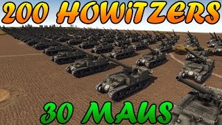 getlinkyoutube.com-Men of War Assault Squad 2 - 200 155mm Howitzers vs 30 MAUS + Bonus Clip - Editor Scenario #47