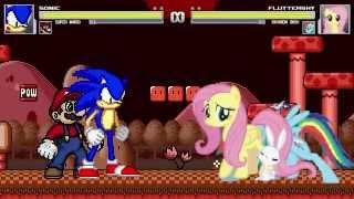 getlinkyoutube.com-AN Mugen Request #177: Sonic & Super Mario VS Fluttershy & Rainbow Dash