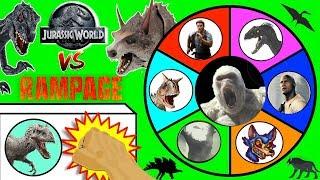 JURASSIC WORLD FALLEN KINGDOM vs RAMPAGE Movie Slime Wheel Game | Surprise Dinosaur Toys Video