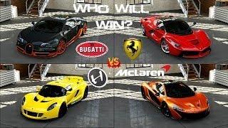 Forza 5 - Bugatti vs Hennessey vs La Ferrari vs McLaren P1 Head to Head Gameplay