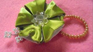 getlinkyoutube.com-Cara membuat bros cantik sederhana dari pita- Diy tutorial kanzashi flower