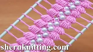 getlinkyoutube.com-Hairpin Lace Crochet Tutorial 38 The Puff Stitch Beaded Strip