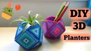 DIY 3D Perler Bead Geometric Planters