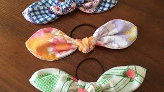getlinkyoutube.com-【DIY】超簡単!リボンへアゴムの作り方 How to make ribbon Hair Elastic Band