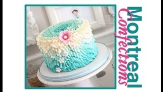 getlinkyoutube.com-How to make a chevron pattern on a cake - Teal ombre design