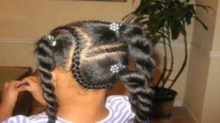 getlinkyoutube.com-Natural Braids with Pony Tails for Girls