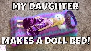 getlinkyoutube.com-MY DAUGHTER MAKES A DOLL BED FOR HER RAPUNZEL PLUSH