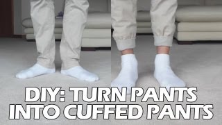 "getlinkyoutube.com-DIY: Turn Pants into ""Jogger"" Style Cuffed Pants"