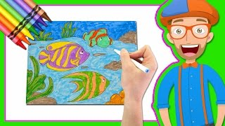 getlinkyoutube.com-Learn Colors by Drawing with Blippi | Coloring Book