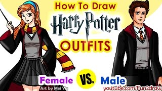 getlinkyoutube.com-How to Draw Harry Potter Hogwarts Outfits - Girl and boy