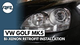 getlinkyoutube.com-VW Golf MKV, 5, V, Bi xenon projector retrofit installation video