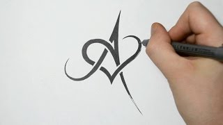 How to Draw/Combine a Letter with a Heart - A