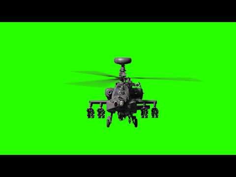 Front Apache Chopper Helicopter Animated Green Screen
