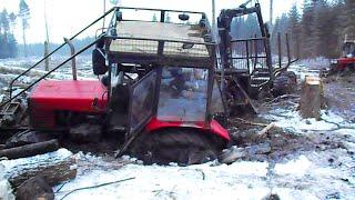 getlinkyoutube.com-Belarus Mtz 892 forestry tractor  stuck in mud, saving with Mtz 1025