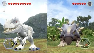 getlinkyoutube.com-LEGO Jurassic World - Indominus Rex vs Ankylosaurus - CoOp Fight | Free Roam Gameplay [HD]