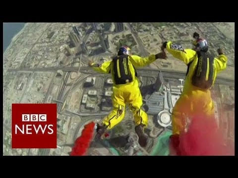 Record breaking base jump from world's tallest building - BBC News