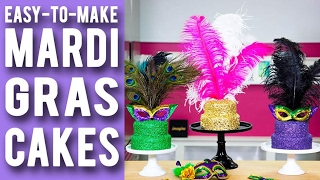 getlinkyoutube.com-How To Make MARDI GRAS CAKES! Purple, Green & Gold Velvet Cakes With Festive Confetti & Feathers!