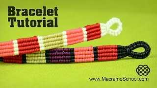 getlinkyoutube.com-Colored Stripe Bracelet Tutorial by Macrame School