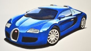 getlinkyoutube.com-How to Draw a Bugatti With Colors - How to Draw a Super Car