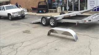 getlinkyoutube.com-Loading a Cadillac on an Aluma trailer 8216 Tilt deck car hauler super lite