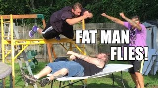 getlinkyoutube.com-TABLE DIVE off SCAFFOLDING! Epic Backyard Wrestling Action Grim vs Stan!!
