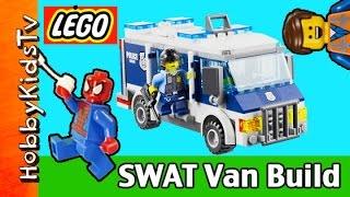 getlinkyoutube.com-LEGO City Police Museum Break-in 60008 SWAT Van Build Emmet and SpiderMan HobbyKidsTV