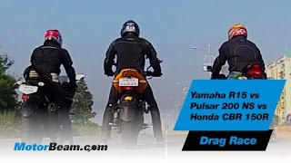getlinkyoutube.com-Yamaha R15 vs Pulsar 200 NS vs Honda CBR150R - Drag Race | MotorBeam