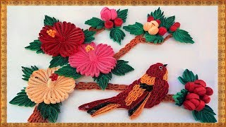 getlinkyoutube.com-Paper Quilling how to make Beautiful bird, 3D Mandaram flowers and leaves handcrafted wall frame