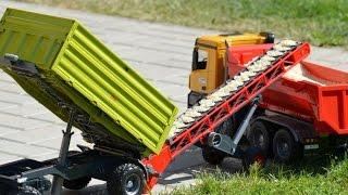 getlinkyoutube.com-Bruder Fliegl Tipping trailer Conveyor belt Mercedes Benz Arocs Halfpipe Dump Truck