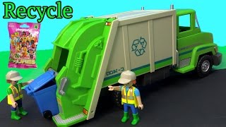 getlinkyoutube.com-PLAYMOBIL Green Recycling Truck & Surprise Mystery Blind Bag Unboxing Toy Review