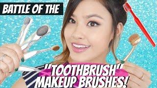 getlinkyoutube.com-Battle of the Toothbrush Makeup Brushes! Artis vs. Etude House | East vs. West
