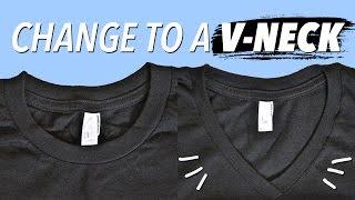 getlinkyoutube.com-How to Make a V-Neck from a Crewneck | WITHWENDY