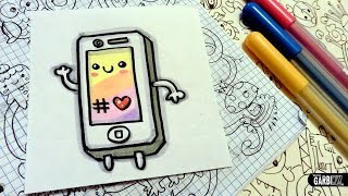 getlinkyoutube.com-How To Draw a Cute Iphone - Easy and Kawaii Drawings by Garbi KW