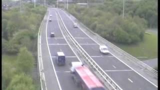 getlinkyoutube.com-**ORIGINAL** Truck accident caught on police camera Motorway M621 (M62 Crash Leeds West Yorks UK)