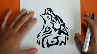 getlinkyoutube.com-Como dibujar un lobo tribal paso a paso | How to draw a tribal wolf