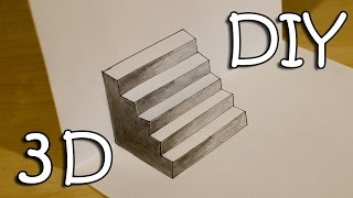 getlinkyoutube.com-DIY 3D Stairs - How To Draw Easy 3D Stairs Optical Illusion