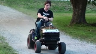 getlinkyoutube.com-Pulley Swap Speed Test - Hot Rod Lawn Tractor - Racing Lawn Mower