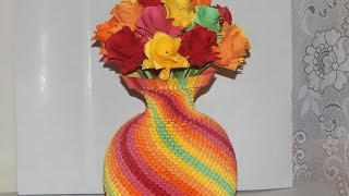 How to make 3d origami  Rainbow Vase part1