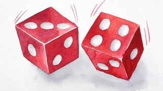 getlinkyoutube.com-How to draw lucky dice, cubes & boxes