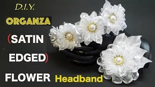 getlinkyoutube.com-D.I.Y. Organza (Satin Edged) Flower Headband | MyInDulzens