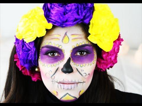 MAKE UP HALLOWEEN CAVEIRA MEXICANA /DIA DE MUERTOS SUGAR SKULL TUTORIAL / CATRINA
