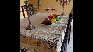 getlinkyoutube.com-Lujoso mantel tejido a crochet  de graficos  Final uniendo los  motivos cuadrados