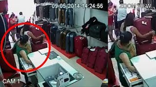 getlinkyoutube.com-Four Women Attempting Theft In A Bag Shop || Mission Successful