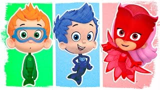 getlinkyoutube.com-PJ Masks as Bubble Guppies | Fun Coloring Videos For Kids