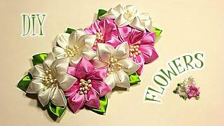 getlinkyoutube.com-Цветы из Лент для Варвары | Канзаши Мастер- Класс | KANZASHI | DIY