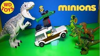 New Minions Station Wagon Getaway Vs Indominus Rex Jurassic World Mega Bloks 2015 Unboxing, Review