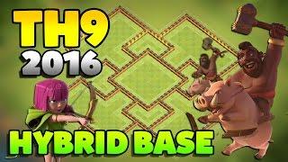 getlinkyoutube.com-Clash Of Clans TH9 Hybrid Base - BEST HYBRID 2016!