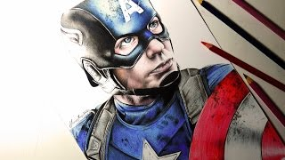 getlinkyoutube.com-Drawing Captain America | Desenhando o Capitão America
