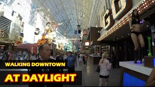 getlinkyoutube.com-Walking in Downtown Las Vegas at daylight - Fremont Street Experience in 4K HD